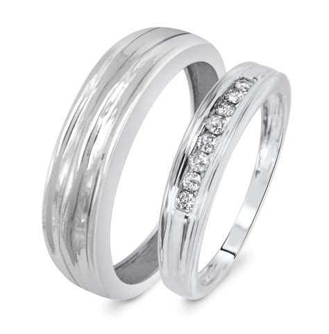 1 7 ct t w his and hers wedding band set 10k white gold