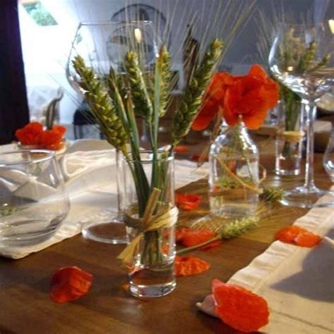 day table decorations wheat heads and poppy flower centerpieces remembrance