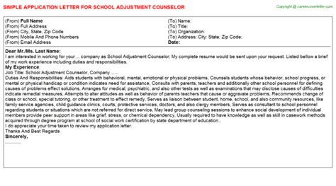application letter for guidance counselor position school adjustment counselor title docs