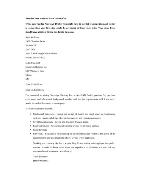 Mechanical Drafter Cover Letter by Basic Autocad Drafter Cover Letter Sles And Templates