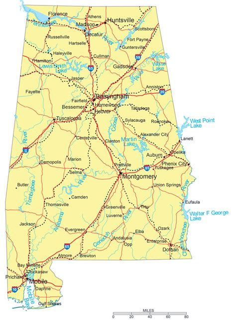large detailed road map of alabama with cities vidiani maps of all countries in one place