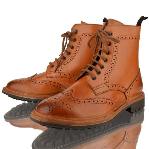 mens boots leather mens leather brogue year welted commando sole lace up
