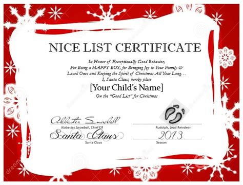 santa claus certificate template messages from santa mypapercraze