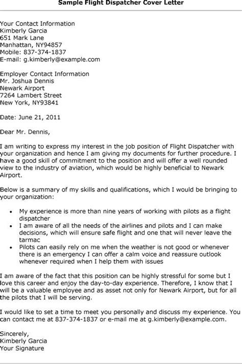 dispatcher cover letter sle resume for flight dispatcher