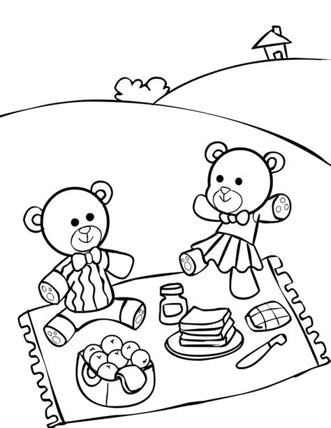 Free Teddy Bear Picnic Coloring Pages Picnic Coloring Page