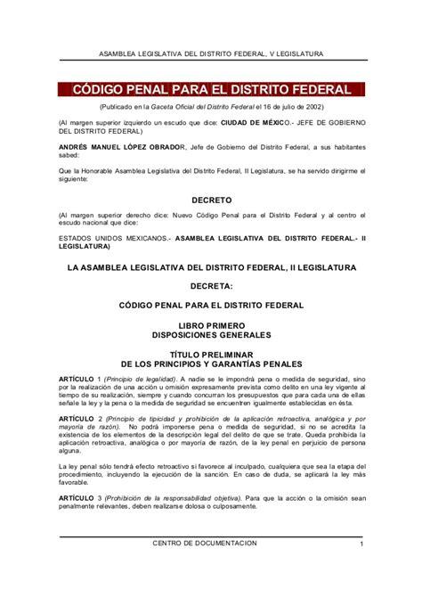 codigo penal para el distrito federal codigo penal codigo penal df