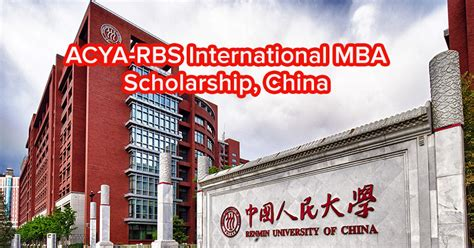 Mba Scholarships For International Students In China by Acya Rbs International Mba Scholarship China Asean