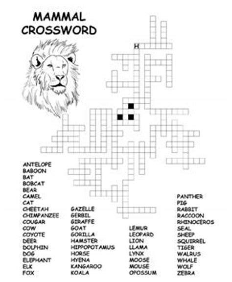 free kids printable activities: mammal crossword kids