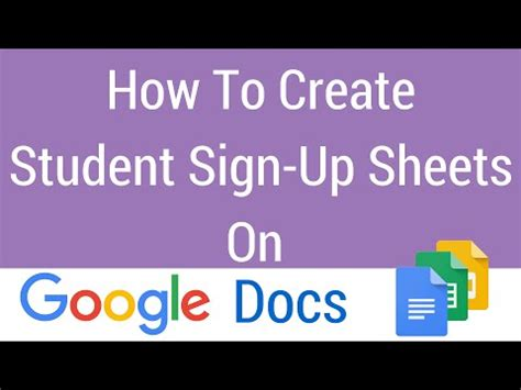 how to create a student sign up sheet on google docs youtube