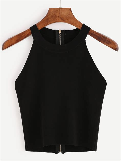 Top Neck Black black zip back knit halter neck top
