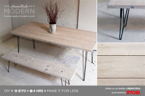 Home Made Modern by Modern Ep3 1 White Washed 2x12 Table With Hairpin