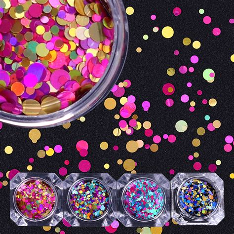 acrylic mirror shapes square star triangle circle mixed 1box nail art round shapes confetti sequins colorful