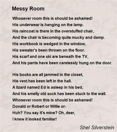 poems about bedrooms messy room poem by shel silverstein poem hunter