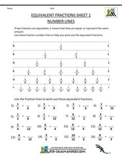 Mathnasium Worksheets by Equivalent Fractions Worksheet 1 Number Lines