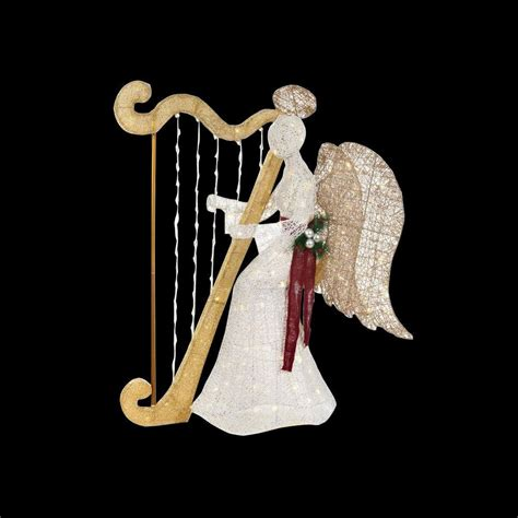 angel decorations for home home accents holiday 55 in led lighted white pvc sitting angel with harp ty236 1611 4 the