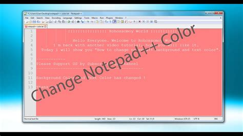 color notepad how to change notepad background and font color