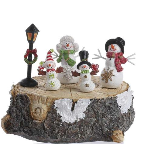 winter snowman family set table and shelf