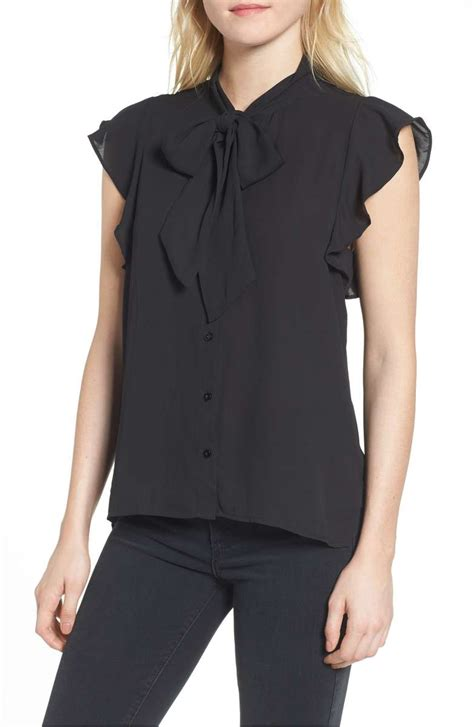 Jaqueer Ruffle Blouse Be2841 01 Black Blouse chic ruffle blouses on trend for 2018 candie