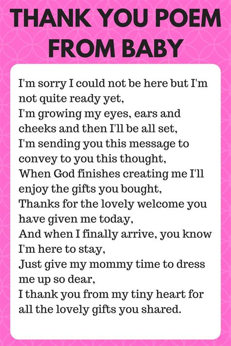 Showers Poem by 25 Best Ideas About Baby Shower Thank You On