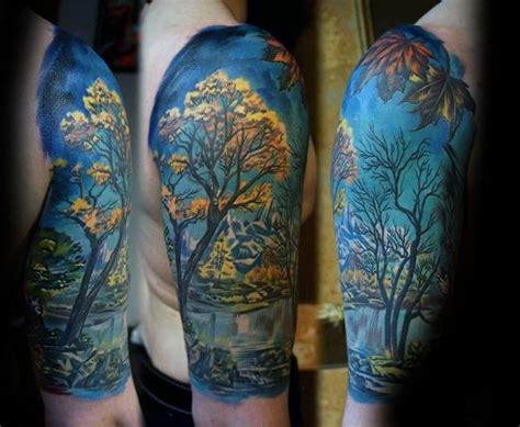 nature quarter sleeve tattoo 50 fall tattoos for men autumn ink design ideas