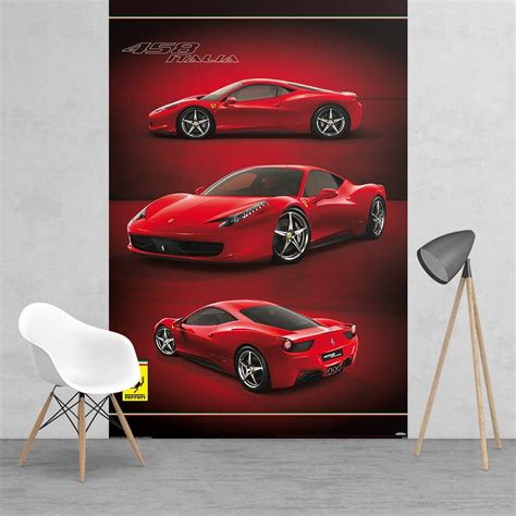 ferrari wall art wall mural photo wallpaper ferrari super red sport car