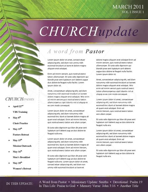 palm sunday church newsletter template template