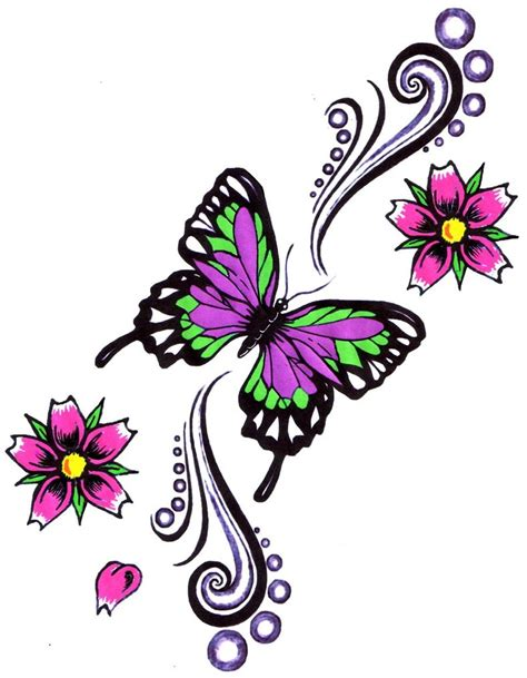 butterfly with flower tattoo designs butterfly tattoos and designs page 175