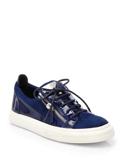 giuseppe sneakers for giuseppe zanotti suede and patent leather low top sneakers