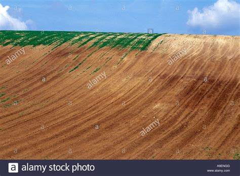 soil erosion due to ploughing on steep slopes germany stock photo royalty free image 12344271