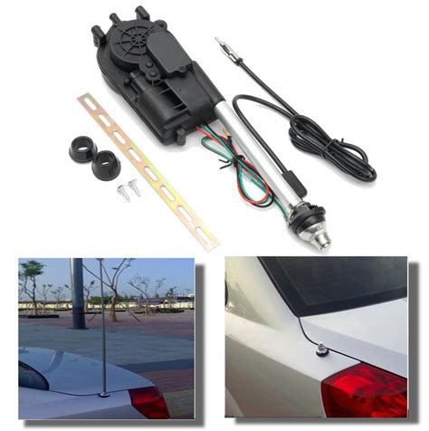 universal 12v car power electric am fm radio signal aerial automatic antenna kit ebay