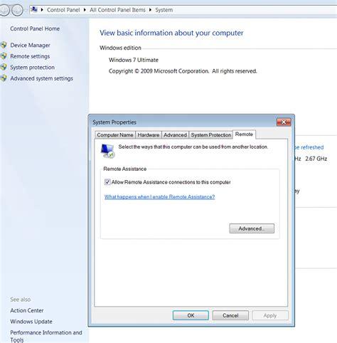 bb t help desk remote desktop settings missing for win 7 solved