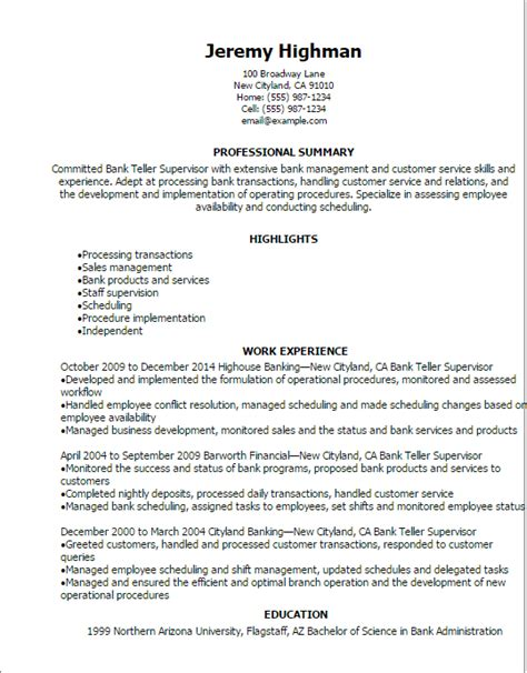 Resume Templates For Supervisor Position by Professional Bank Teller Supervisor Resume Templates To