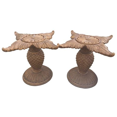 carved wood table bases pair of wood carved pineapple dining table or desk bases