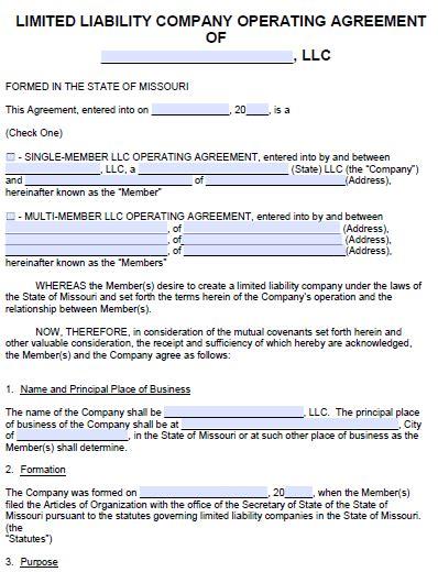 Missouri Llc Operating Agreement Template Free Missouri Llc Operating Agreement Template Pdf Word