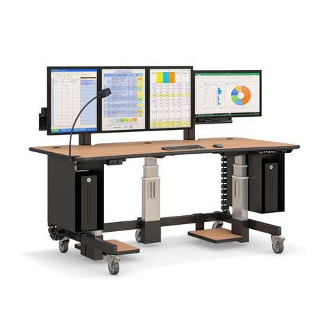 height adjustable standing workstation with multi monitors