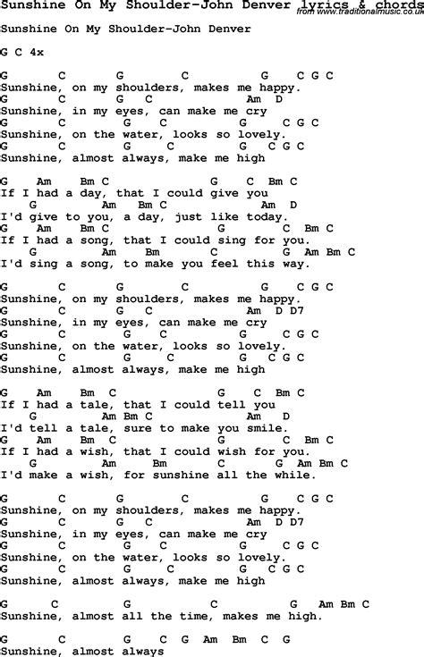 my lyrics guitar chords song lyrics for on my shoulder denver