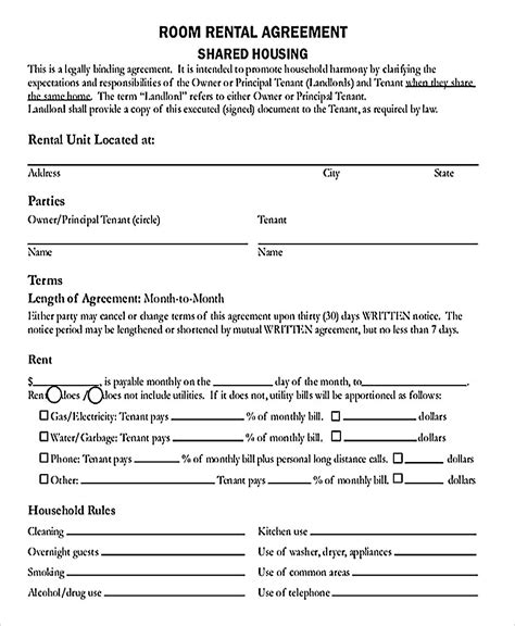 9 Room Rental Agreement Template Room Rental Agreement California Template