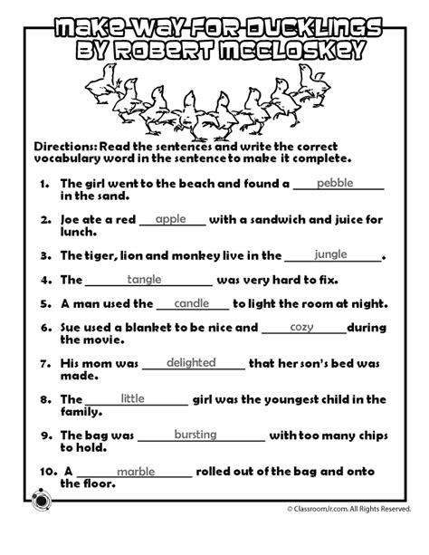 Make Way for Ducklings Vocabulary Worksheet Answer Key