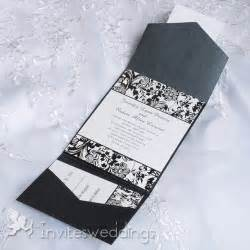 cheap black and white floral pocket wedding invitations