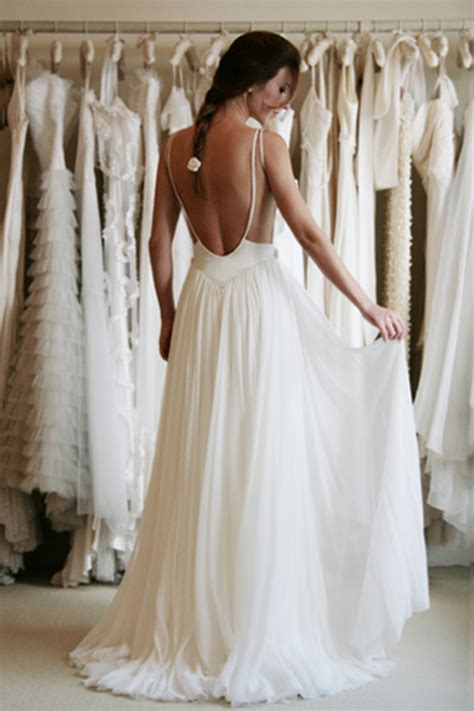 Ftnol White Lowback Dress All Size white simple wedding dress with a low back sang maestro