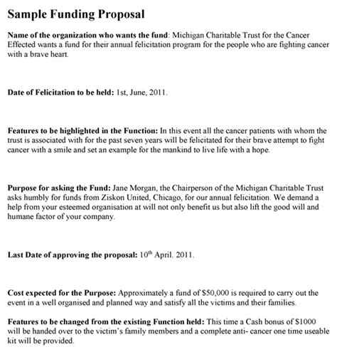 format of proposal writing for funding funding proposal template