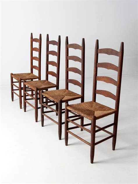 Equine Home Decor antique ladder back chairs with rush seat from 86 vintage