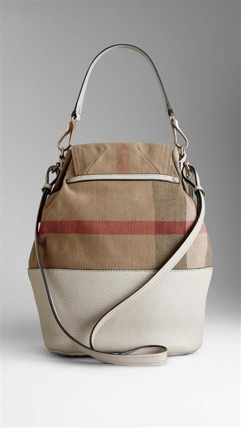 Burberry Check Canvas Hobo Bag Bliss by Lyst Burberry Medium Canvas Check Hobo Bag