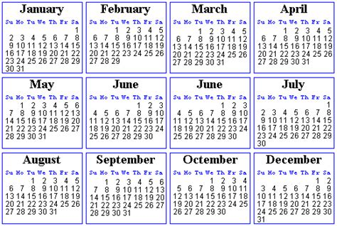 Calendar For 2000 Amtrek Year 2000 Calendar