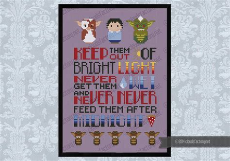 cross stitch pattern house rules gremlins rules movie quotes quotes cross stitch