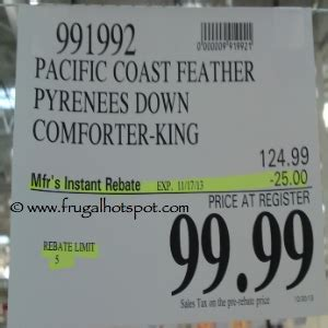 Pacific Coast Comforter Costco by Costco Deal Pacific Coast Feather Pyrenees Comforter