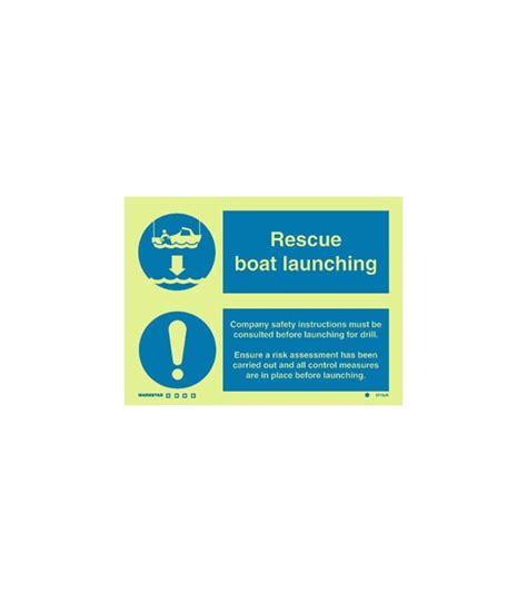 rescue boat launching procedure mandatory signs photoluminescent rigid pvc rescue boat