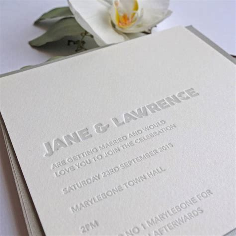 Embossed Wedding Invitations embossed letterpress wedding invitation by wolf ink