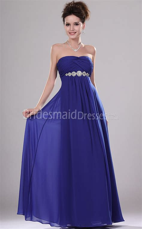 Royal Blue Bridesmaid Dress by A Line Royal Blue Chiffon Strapless Floor Length With
