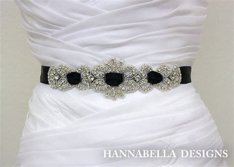 black beaded sash belt rhinestone black interlaced sash
